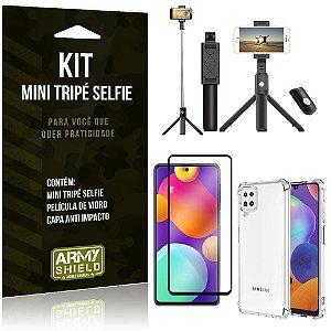 Kit Samsung M62 Mini Tripé Selfie Bluetooth para + Capa Anti Impacto + Película 3D - Armyshield