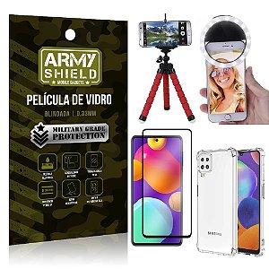 Kit Samsung M62 Tripé Flex + Flash Ring + Capa Anti Impacto + Película 3D - Armyshield