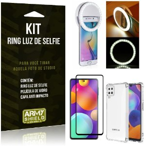Kit Samsung M62 Flash Ring + Capa Anti Impacto + Película de Vidro 3D - Armyshield