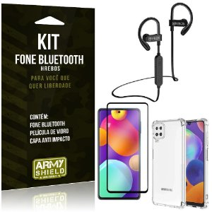 Kit Samsung M62 Fone Bluetooth HS188 + Película 3D + Capa Anti Impacto - Armyshield