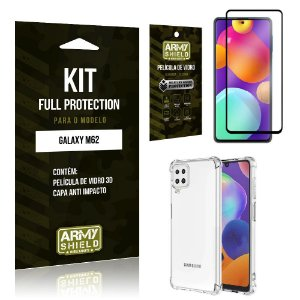 Kit Samsung M62 Full Protection com Película de Vidro 3D + Capa Anti Impacto - Armyshield