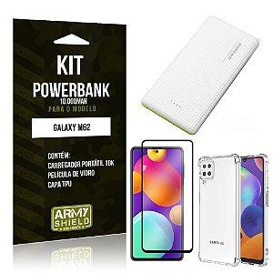 Kit Samsung M62 Carregador Portátil 10K Tipo C + Capa Anti Impacto + Película Vidro 3D - Armyshield