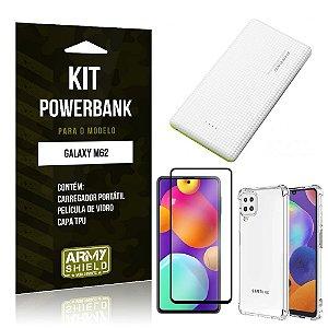 Kit Samsung M62 Carregador Portátil 5K Tipo C + Capa Anti Impacto + Película Vidro 3D - Armyshield