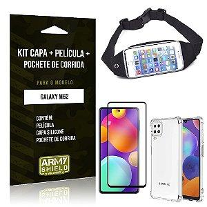 Kit Samsung M62 Pochete + Capinha Anti Impacto + Película de Vidro 3D - Armyshield