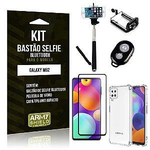 Kit Samsung M62 Bastão de Selfie Bluetooth + Capinha Anti Impacto + Película Vidro 3D - Armyshield