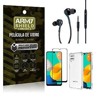 Kit Samsung M32 Core Fone Extreme + Capa Anti Impacto + Película Vidro 3D - Armyshield