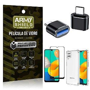 Kit Samsung M32 Adaptador OTG Tipo C para USB + Capa Anti Impacto + Película 3D - Armyshield