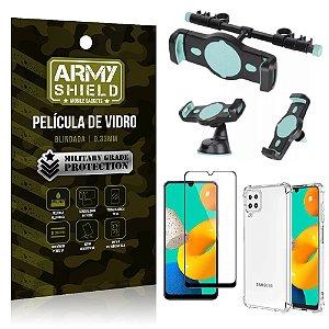 Kit Samsung M32 Suporte Veicular 3 em 1 + Película 3D + Capa Anti Impacto - Armyshield