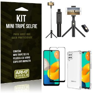 Kit Samsung M32 Mini Tripé Selfie Bluetooth para + Capa Anti Impacto + Película 3D - Armyshield