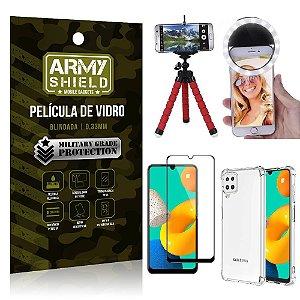Kit Samsung M32 Tripé Flex + Flash Ring + Capa Anti Impacto + Película 3D - Armyshield