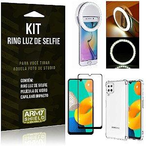 Kit Samsung M32 Flash Ring + Capa Anti Impacto + Película de Vidro 3D - Armyshield