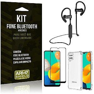 Kit Samsung M32 Fone Bluetooth HS188 + Película 3D + Capa Anti Impacto - Armyshield