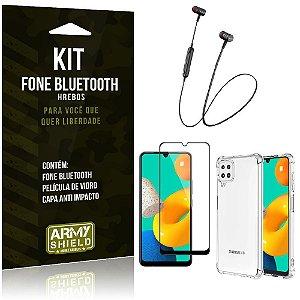 Kit Samsung M32 Fone Bluetooth HS-615 + Capa Anti Impacto + Película Vidro 3D - Armyshield