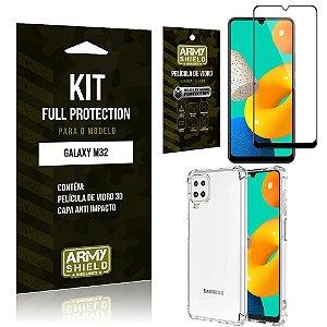 Kit Samsung M32 Full Protection com Película de Vidro 3D + Capa Anti Impacto - Armyshield