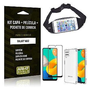 Kit Samsung M32 Pochete + Capinha Anti Impacto + Película de Vidro 3D - Armyshield