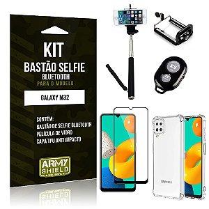 Kit Samsung M32 Bastão de Selfie Bluetooth + Capinha Anti Impacto + Película Vidro 3D - Armyshield