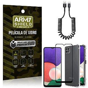 Kit Samsung A22 5G Cabo Espiral Tipo C + Capa Anti Impacto + Película Vidro 3D - Armyshield
