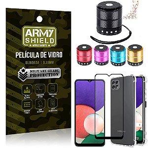 Kit Samsung A22 5G Mini Som Bluetooth + Capa Anti Impacto + Película Vidro 3D - Armyshield