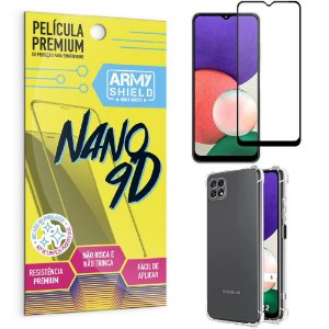 Kit Samsung A22 5G Película Premium Nano 9D + Capa Anti Impacto - Armyshield