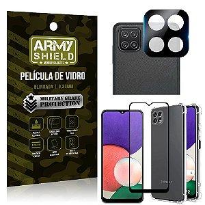 Kit Samsung A22 5G Película de Câmera + Película 3D + Capa Anti Impacto - Armyshield