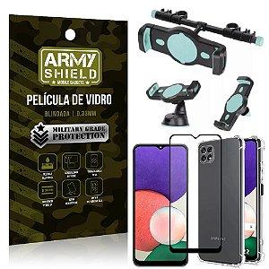 Kit Samsung A22 5G Suporte Veicular 3 em 1 + Película 3D + Capa Anti Impacto - Armyshield
