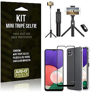 Kit Samsung A22 5G Mini Tripé Selfie Bluetooth para + Capa Anti Impacto + Película 3D - Armyshield