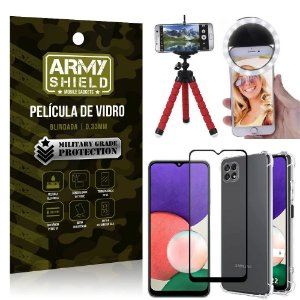 Kit Samsung A22 5G Tripé Flex + Flash Ring + Capa Anti Impacto + Película 3D - Armyshield