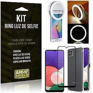 Kit Samsung A22 5G Flash Ring + Capa Anti Impacto + Película de Vidro 3D - Armyshield