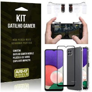 Kit Samsung A22 5G Gatilho Gamer + Capa Anti Impacto + Película Vidro 3D - Armyshield