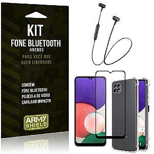 Kit Samsung A22 5G Fone Bluetooth HS-615 + Capa Anti Impacto + Película Vidro 3D - Armyshield