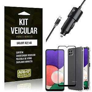 Kit Samsung A22 5G Carregador Veicular Tipo C + Capa Anti Impacto + Película Vidro 3D - Armyshield