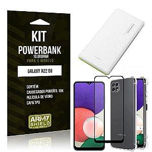 Kit Samsung A22 5G Carregador Portátil 10K Tipo C + Capa Anti Impacto +Película Vidro 3D -Armyshield
