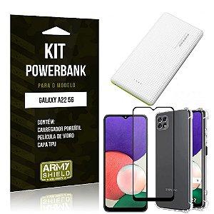 Kit Samsung A22 5G Carregador Portátil 5K Tipo C + Capa Anti Impacto + Película Vidro 3D -Armyshield
