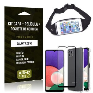 Kit Samsung A22 5G Pochete + Capinha Anti Impacto + Película de Vidro 3D - Armyshield