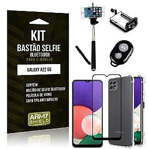 Kit Samsung A22 5G Bastão de Selfie Bluetooth + Capinha Anti Impacto + Película Vidro 3D -Armyshield