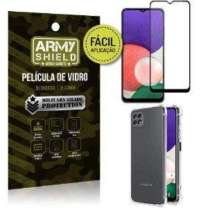 Kit Samsung A22 5G Película 3D Fácil Aplicação + Capa Anti Impacto - Armyshield