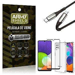 Kit Samsung A22 4G Cabo Usb Tipo C para Usb-C HS-167 + Capa Anti Impacto + Película 3D - Armyshield