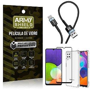 Kit Samsung A22 4G Cabo Usb Tipo C HS-302 + Capa Anti Impacto + Película Vidro 3D - Armyshield