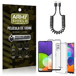 Kit Samsung A22 4G Cabo Espiral Tipo C + Capa Anti Impacto + Película Vidro 3D - Armyshield
