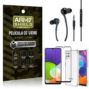 Kit Samsung A22 4G Core Fone Extreme + Capa Anti Impacto + Película Vidro 3D - Armyshield