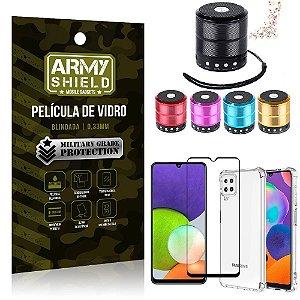 Kit Samsung A22 4G Mini Som Bluetooth + Capa Anti Impacto + Película Vidro 3D - Armyshield