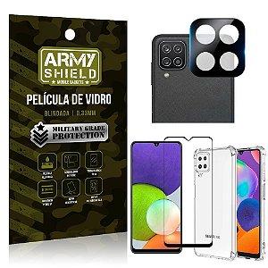 Kit Samsung A22 4G Película de Câmera + Película 3D + Capa Anti Impacto - Armyshield