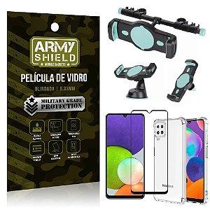 Kit Samsung A22 4G Suporte Veicular 3 em 1 + Película 3D + Capa Anti Impacto - Armyshield