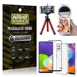 Kit Samsung A22 4G Tripé Flex + Flash Ring + Capa Anti Impacto + Película 3D - Armyshield