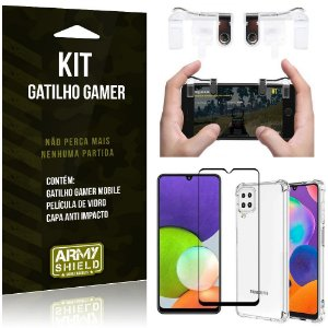 Kit Samsung A22 4G Gatilho Gamer + Capa Anti Impacto + Película Vidro 3D - Armyshield