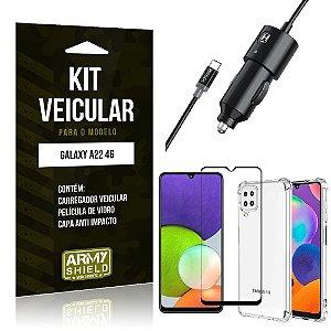 Kit Samsung A22 4G Carregador Veicular Tipo C + Capa Anti Impacto + Película Vidro 3D - Armyshield