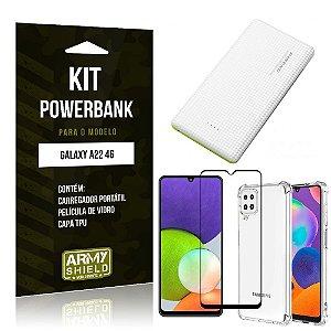 Kit Samsung A22 4G Carregador Portátil 5K Tipo C + Capa Anti Impacto + Película Vidro 3D -Armyshield