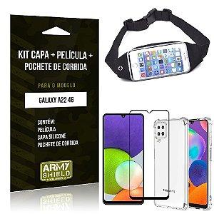 Kit Samsung A22 4G Pochete + Capinha Anti Impacto + Película de Vidro 3D - Armyshield