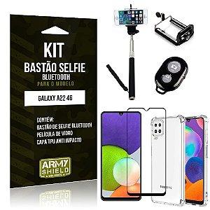 Kit Samsung A22 4G Bastão de Selfie Bluetooth + Capinha Anti Impacto + Película Vidro 3D -Armyshield