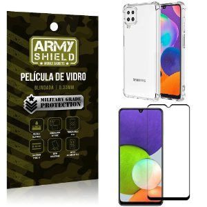 Kit Capinha Anti Impacto Samsung A22 4G + Película de Vidro 3D - Armyshield